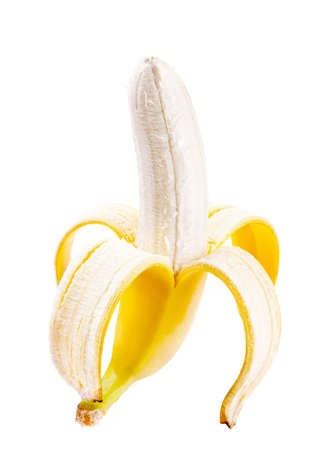 peeled banana: Peeled banana isolated on white Stock Photo
