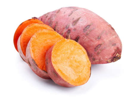 Sweet potato with slices isolated on white background Stock Photo - 13127029