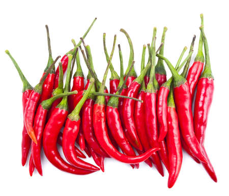 red chilli: Red chilli peppers isolated on white background Stock Photo