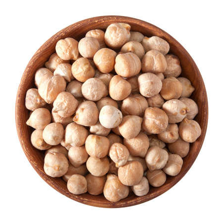 wooden bowl full of hummus isolated on white background Standard-Bild