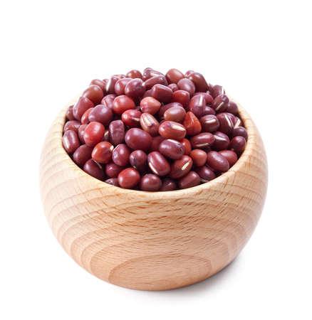 adzuki bean: wooden bowl full of adzuki beans isolated on white background