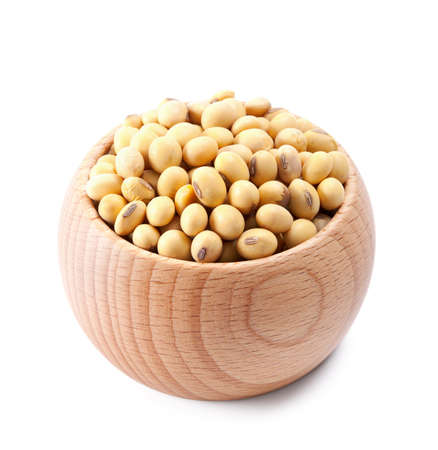 wooden bowl full of soy isolated on white background