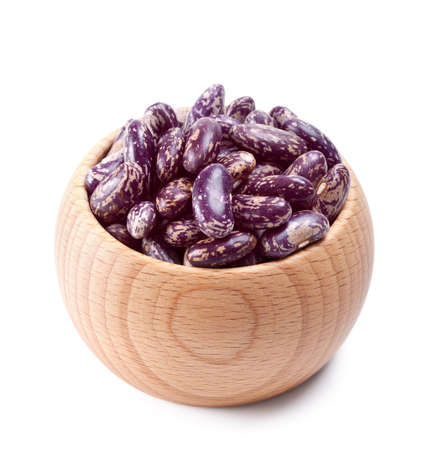 wooden bowl full of speckled beans isolated on white background Stock Photo - 13514997