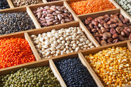 peas, beans and lentils in the wooden box Stock Photo - 13840143