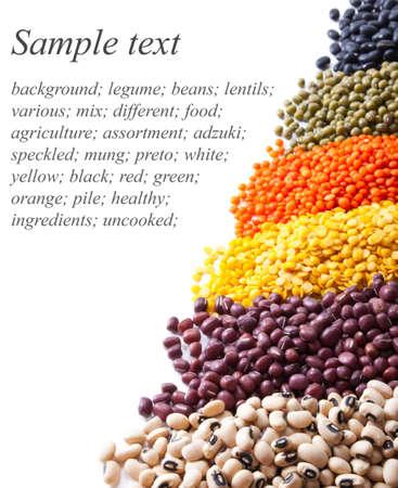 adzuki bean: background with different legumes on white