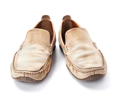 loafers: Pair of brown male loafers isolated on white background Stock Photo