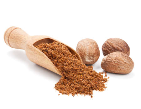 milled: milled nutmeg isolated on white background