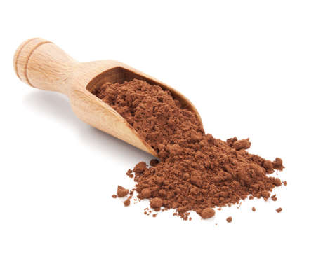 chocolate powder: cacao beans and cacao powder isolated on white background