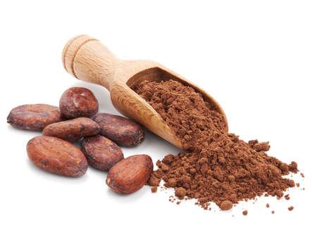 cacao: cacao y granos de cacao en polvo aislado en el fondo blanco