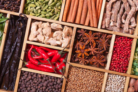 pimento: spices and herbs in wooden box