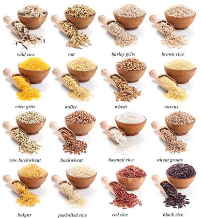 cereal: grañones colección aislada en el fondo blanco Foto de archivo
