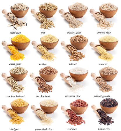 basmati: groats collection isolated in white background Stock Photo