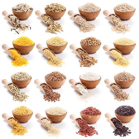 cereal: gra�ones colecci�n aislada en el fondo blanco Foto de archivo