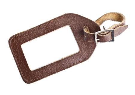 luggage tag: leather luggage tag isolated on white background Stock Photo