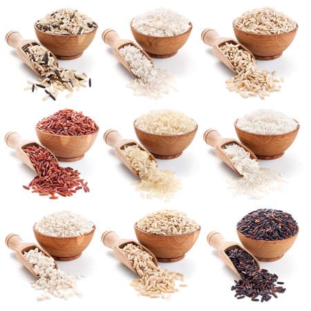 basmati: Rice collection isolated on whte background