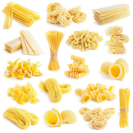 vermicelli: pasta collection isolated on white background