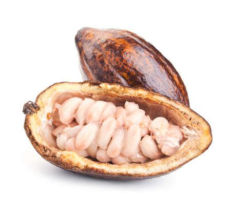 half open: raw cocoa pod and beans isolated on a white background