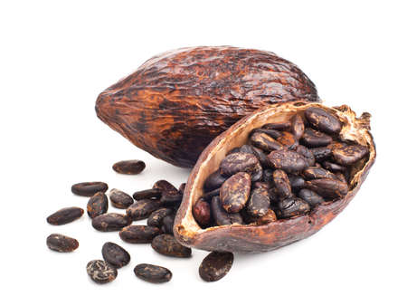 cacao pod en bonen geïsoleerd op een witte achtergrond Stockfoto
