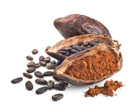 cacao: Vaina de cacao, frijoles y polvo aislados en un fondo blanco Foto de archivo