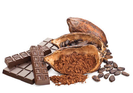 Cocoa and chocolate isolated on a white background Standard-Bild
