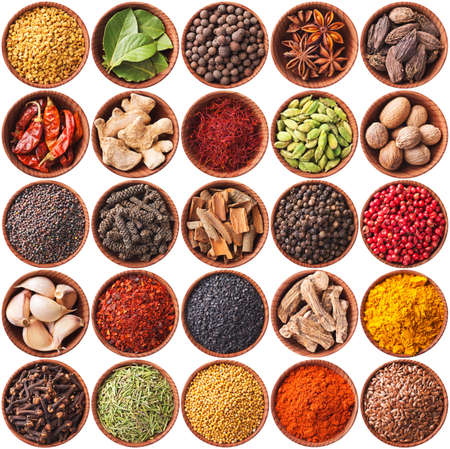 collection of different spices and herbs isolated on white  Stock Photo