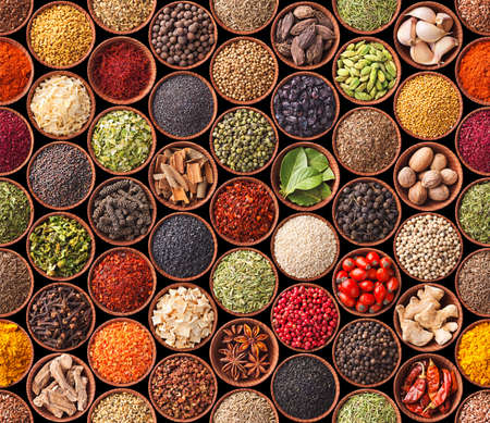 Naadloze textuur met specerijen en kruiden Stockfoto