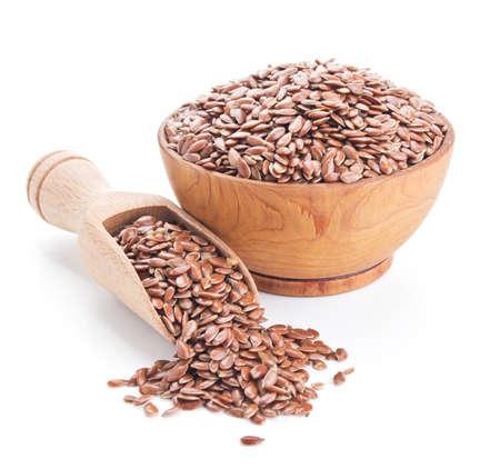 flax seeds isolated on white  Standard-Bild