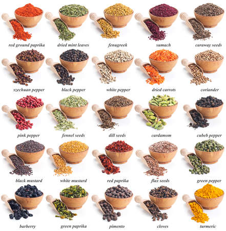 collection of different spices and herbs with labels photo