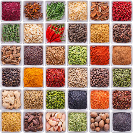 collection of different spices and herbs isolated on white background Standard-Bild