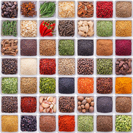 spice: large collection of different spices and herbs isolated on white background Stock Photo