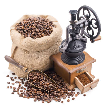 coffee sack: sack of coffee beans with retro grinder isolated on white background
