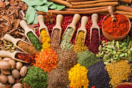 colorful composition with different spices and herbs