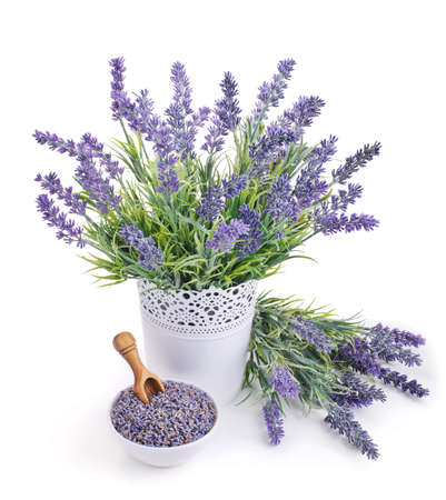 pot of lavender and bowl with dried flowers isolated on white