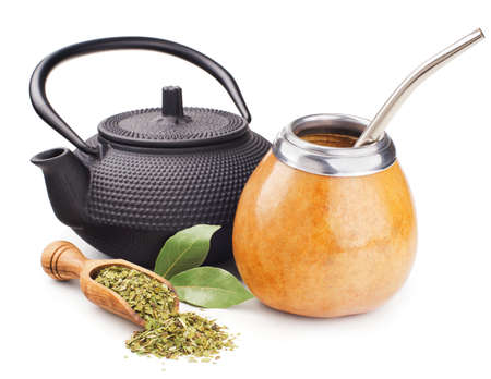 still life with mate yerba and teapot isolated on white Standard-Bild