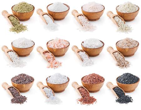 塩は、白い背景で隔離のさまざまな種類のコレクション