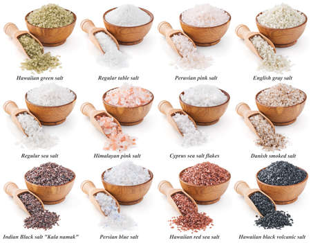 collection of different types of salt isolated on white background 写真素材