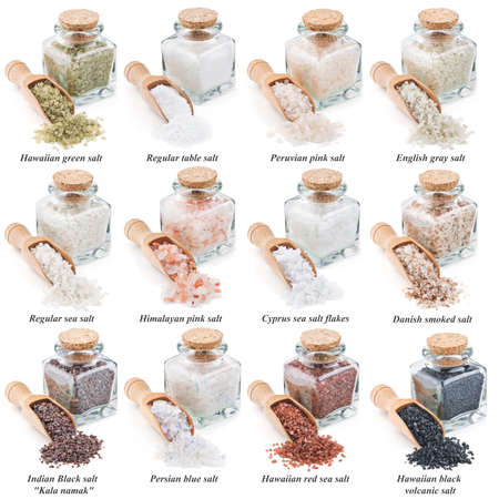 collection of different types of salt isolated on white background Banco de Imagens