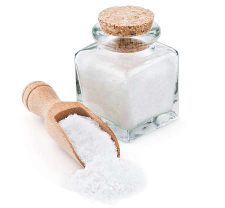 rock salt: Regular table salt in a glass bottlel isolated on white background