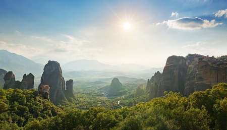 meteora: Wide angle panoramic view of Meteora mountains. Greece Stock Photo