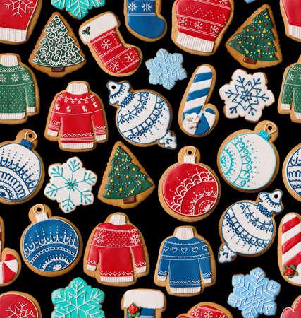 galleta de jengibre: Textura transparente con las galletas de jengibre de Navidad sobre fondo negro
