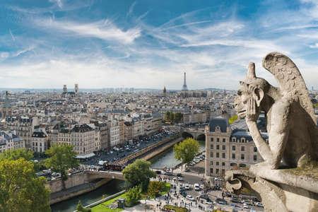gargouille: Gargouille et vue sur toute la ville depuis le toit de Notre Dame de Paris, France