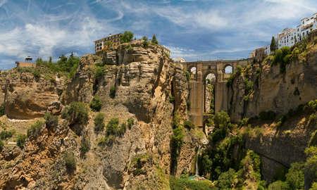 nuevo: Stone bridge Puente Nuevo in Ronda, Spain. Wide view from bottom of gorge