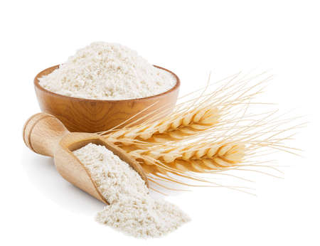 Whole grain wheat flour isolated on white