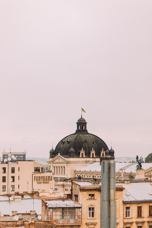 neo classical: Fantastic Lviv Opera House on top view.