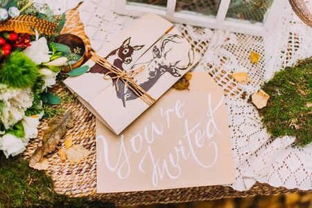 Wedding postcard invitation close up