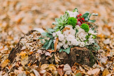 love life: Beautiful wedding bouquet consisting of white roses and decorated with features lying on the stump in autumn woods close up.