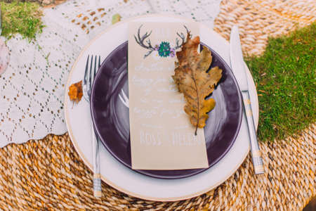 leaf close up: Lovely postcard on the purple plate with autumn leaf close up. Stock Photo