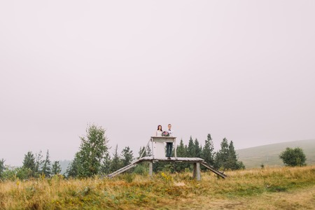 a meeting with a view to marriage: Lovely young wedding couple on the wooden bridge in mountains.