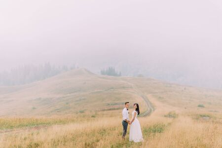 hapy: Young hapy wedding couple holding hands. Beautiful mountains on background.