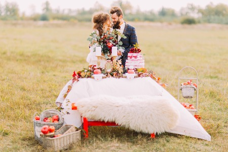 chear: Happy wedding couple sitting at holiday table in the field. Stock Photo